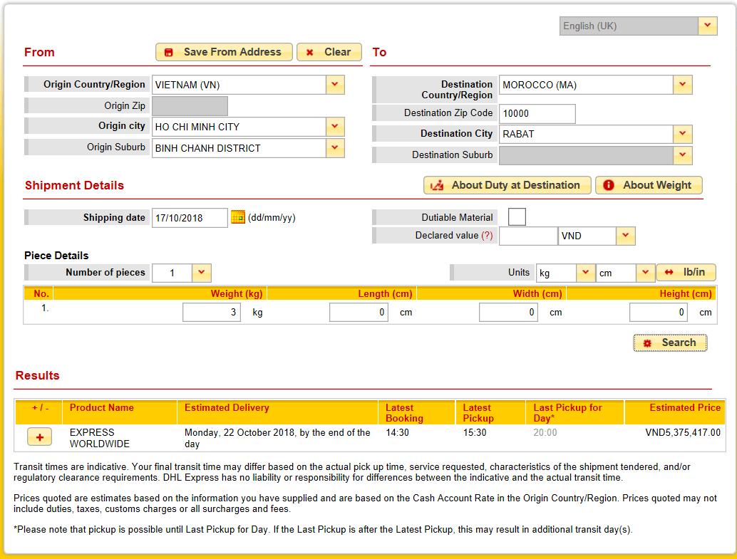 facture dhl rabat