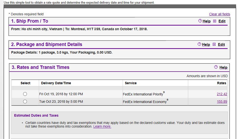 facture fedex montréal