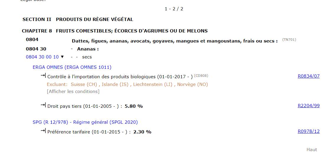 droits de douane ananas en france